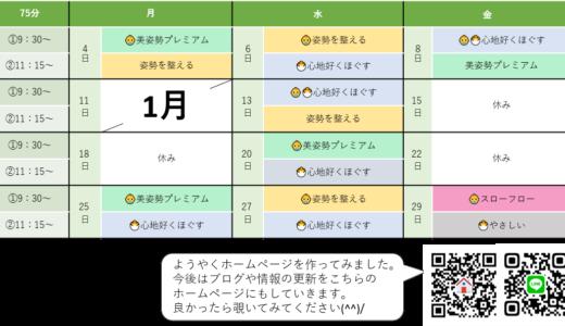 1月の仮スケジュール